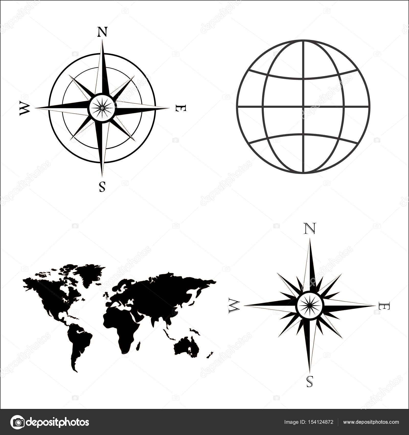 Vector illustration of world map globe wind rose compass symbols of global technology international associations travel expeditions and ect vector illustration of world map globe wind rose compass biocorpaavc Images