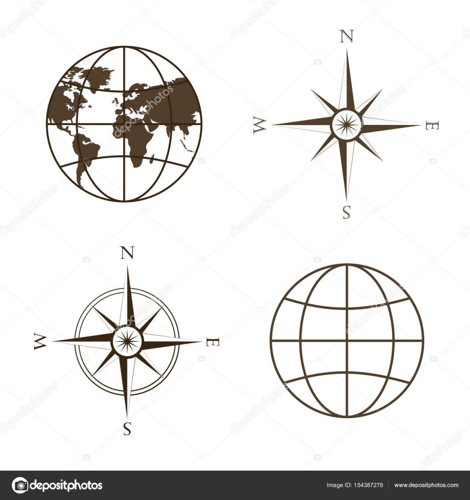 Vector illustration of globe wind rose compass stock vector symbols of global technology international associations travel expeditions and ect vector illustration of globe wind rose compass square location biocorpaavc Images