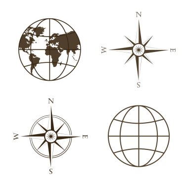 Vector illustration of globe, wind rose, compass.