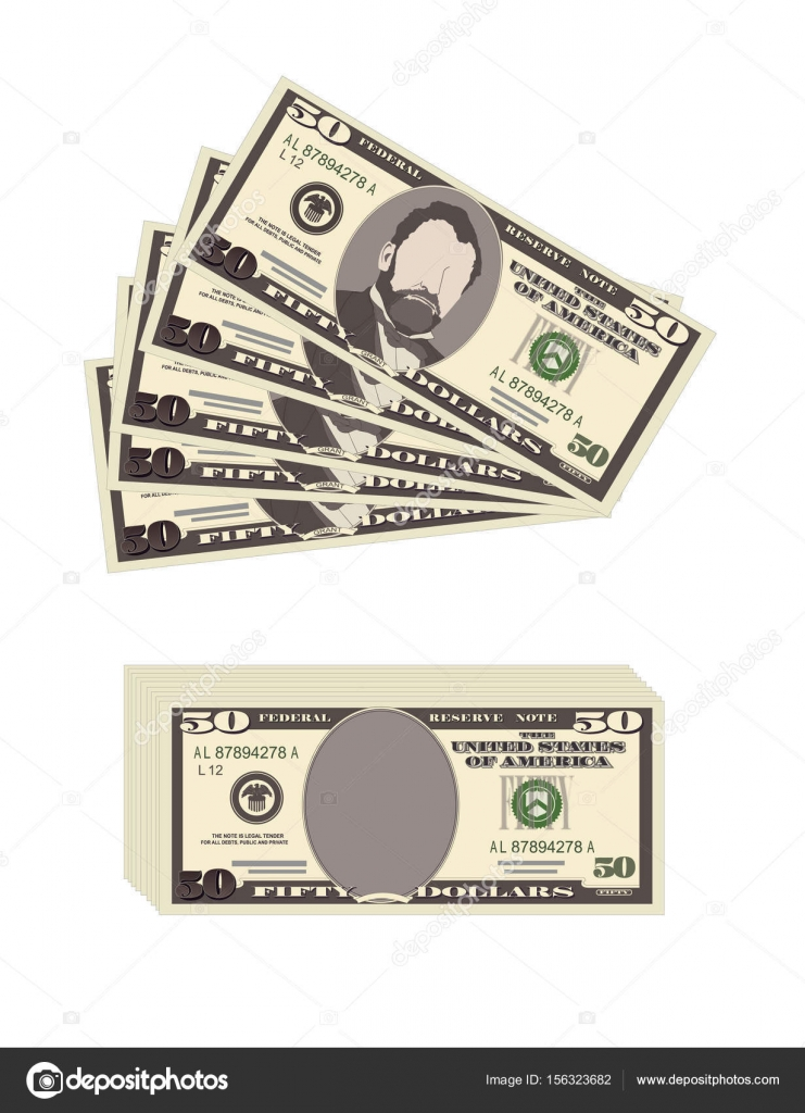 Usa Banking Currency Cash Symbol 50 Dollars Bill Stock Vector