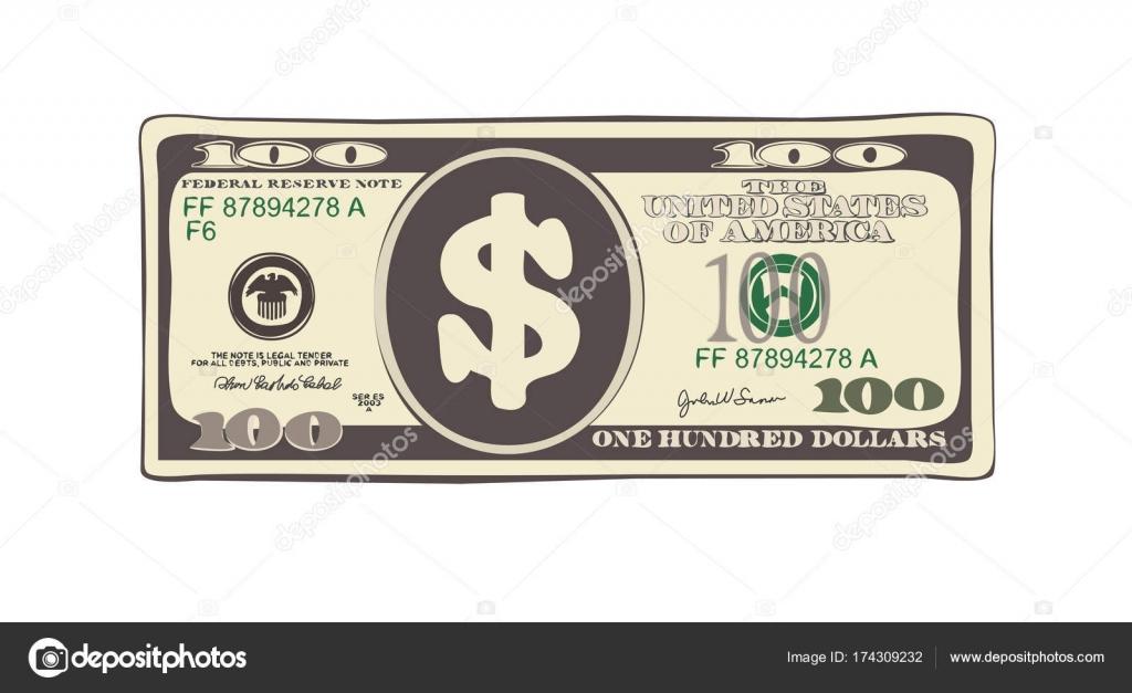 100 Dólares En Estilo De Dibujos Animados Plana