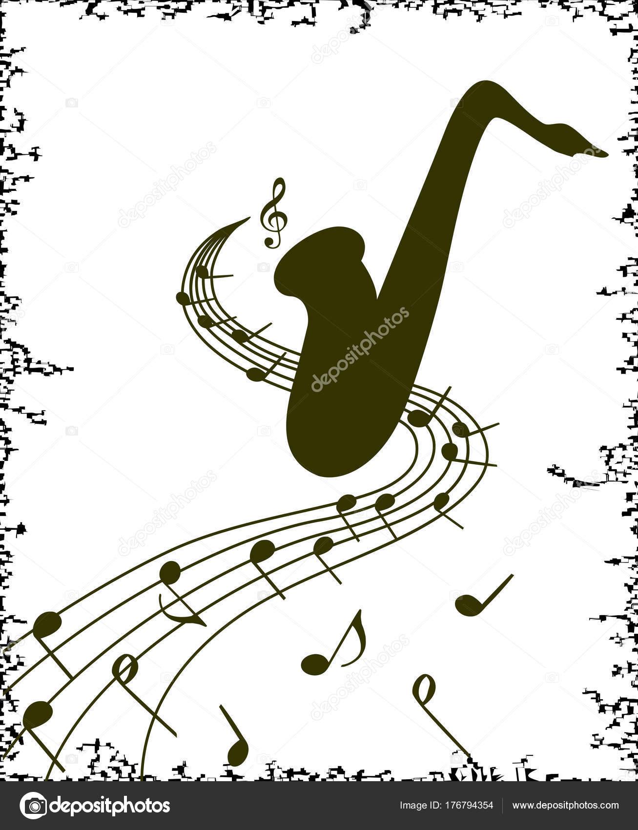 Stilvolle Vorlage Des Saxophons Auf Weißem Hintergrund Für Slogan ...