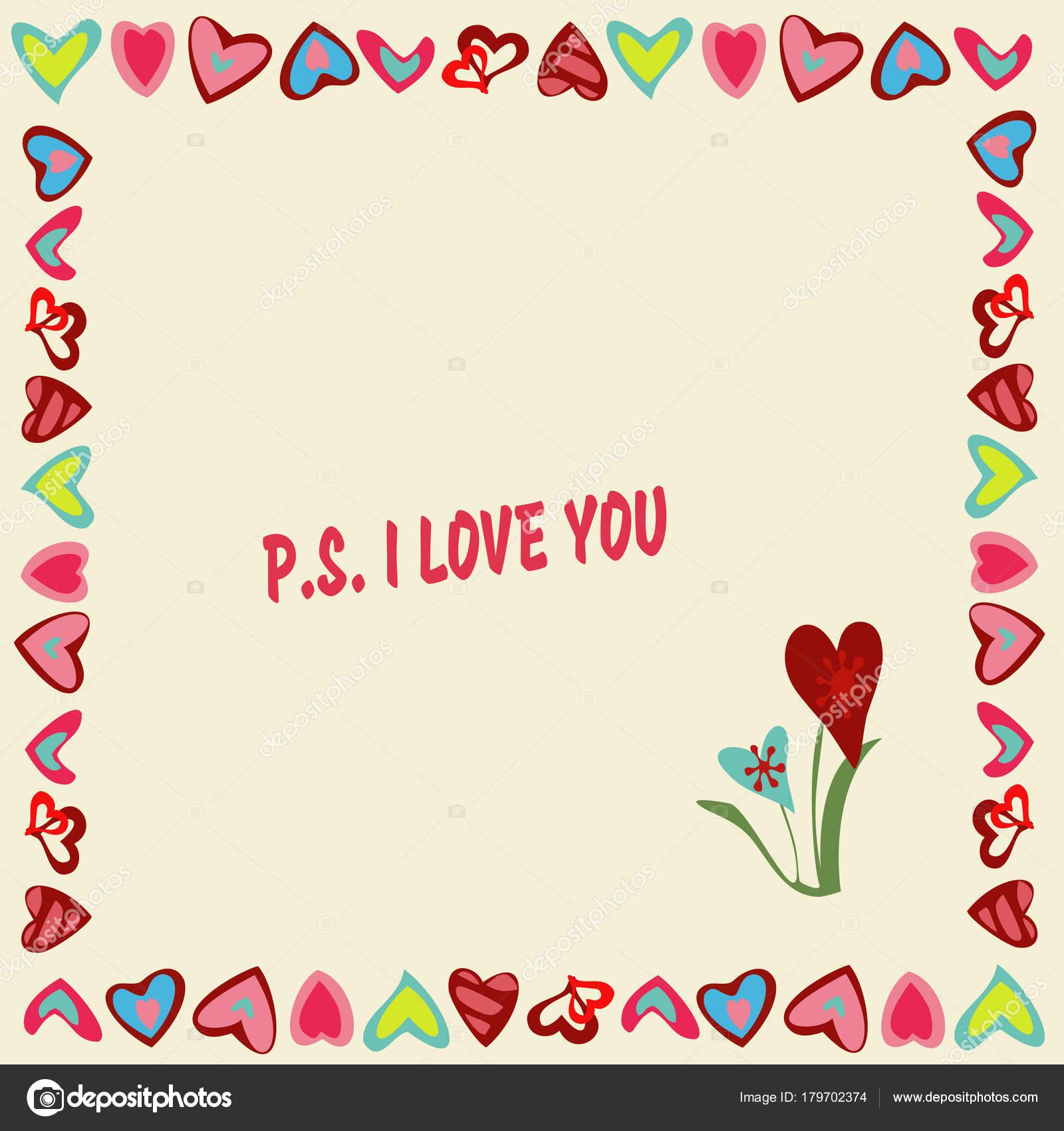 Marco de corazones sobre un fondo amarillo con texto P.S. Te quiero ...