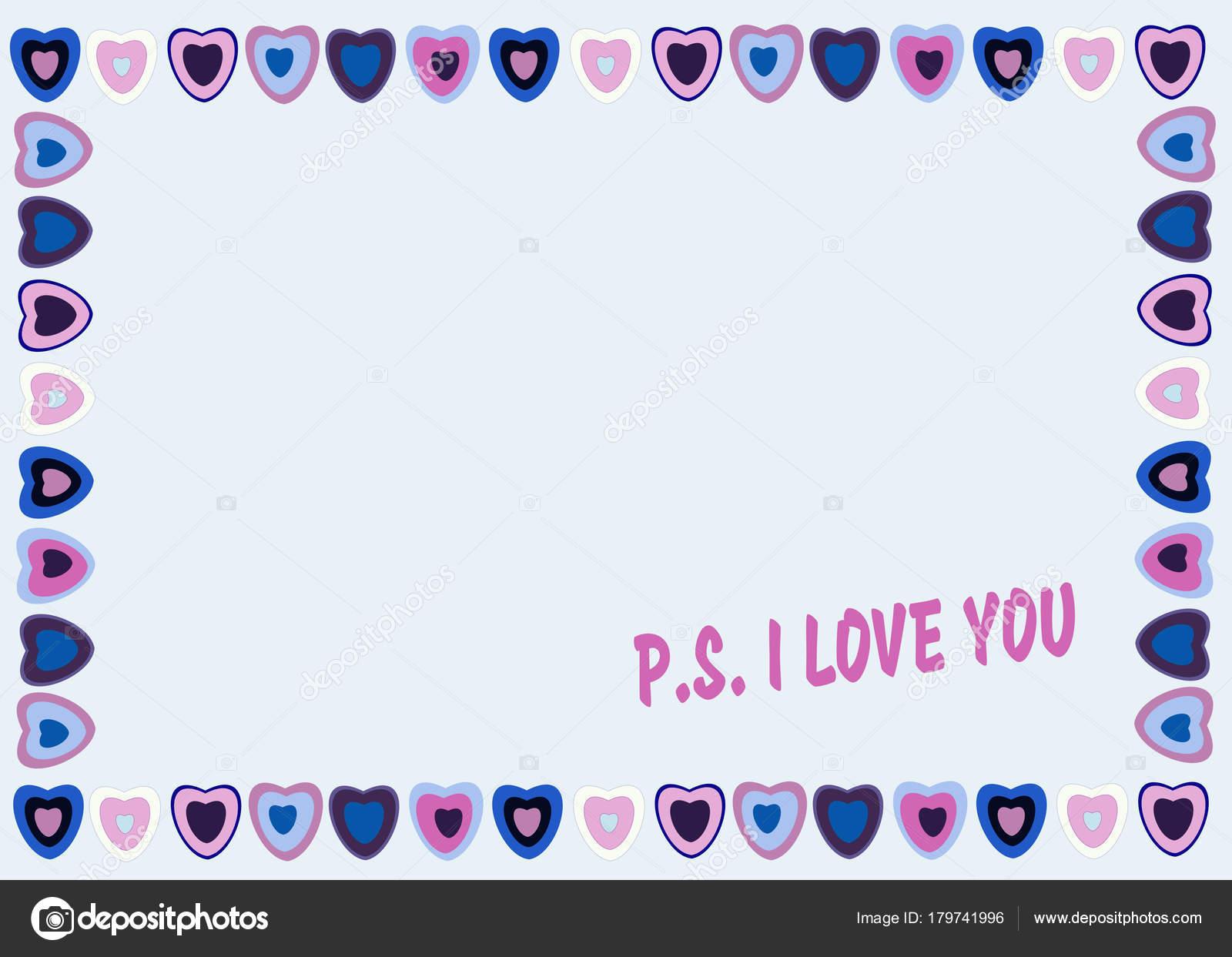 Marco de corazones sobre fondo azul con texto P.S. Te quiero ...