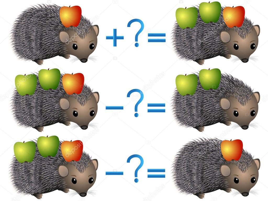 Action relationship of addition and subtraction, examples with apples on a hedgehog.