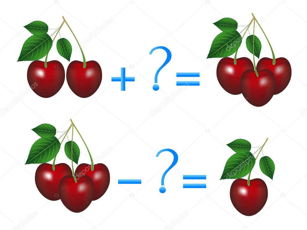 Action relationship of addition and subtraction, examples with cherries. Educational game for children.