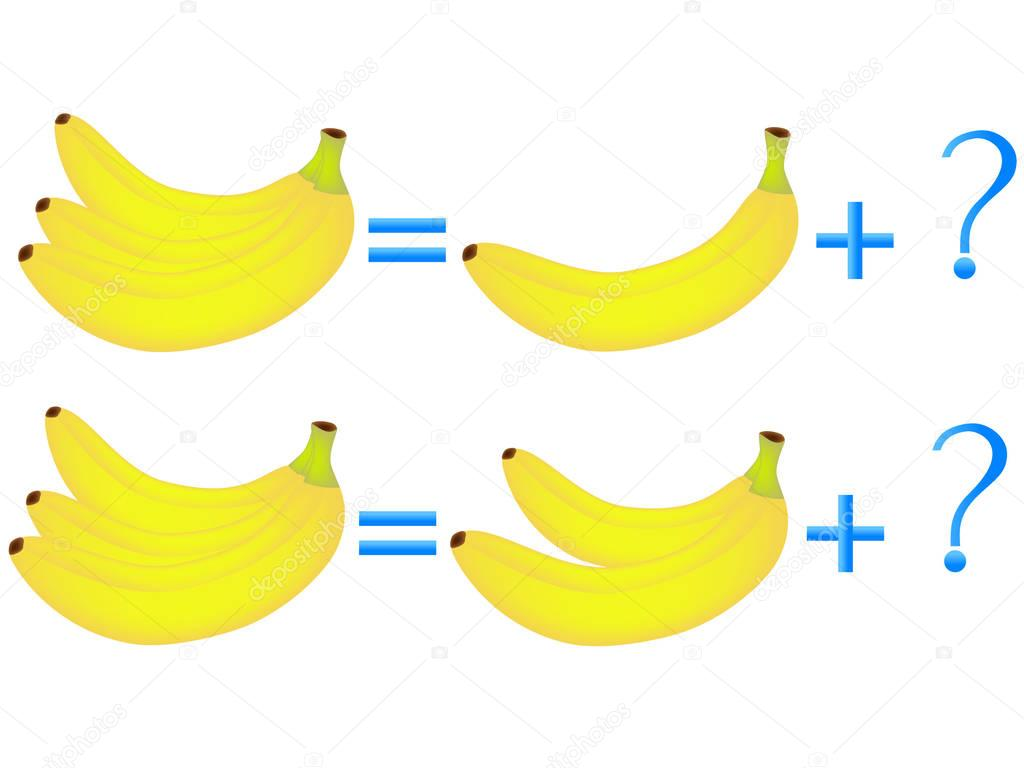 Educational games for children, on the composition of the three, example with bananas.