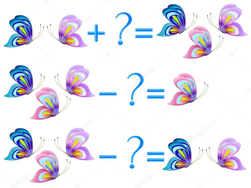 Action relationship of addition and subtraction, examples with butterflies. Educational games for children.