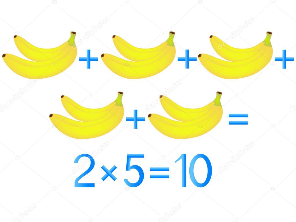 Educational games for children, multiplication action, example with bananas.