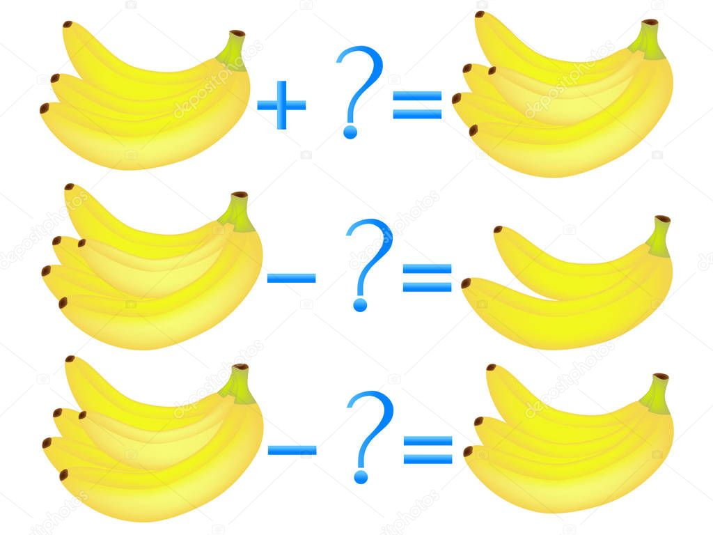 Action relationship of addition and subtraction, examples with bananas. Educational games for children.