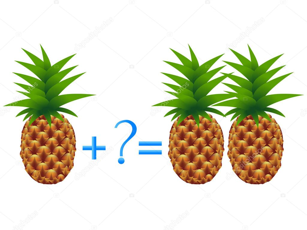 Educational game for children, illustration of mathematical addition, examples with pineapples.