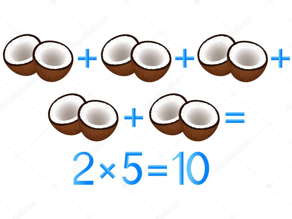 Educational games for children, multiplication action, example with coconuts.