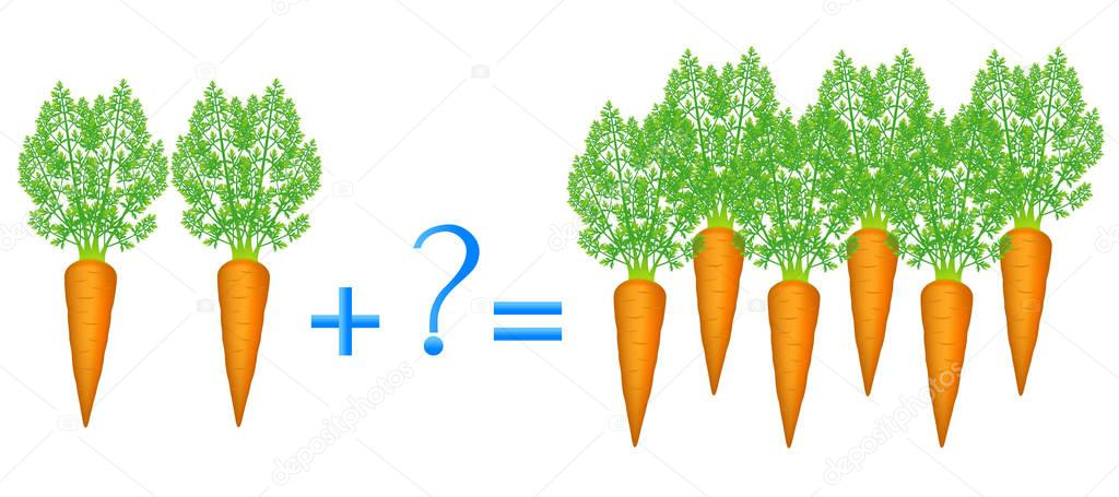 Action relationship of addition, examples with carrots.