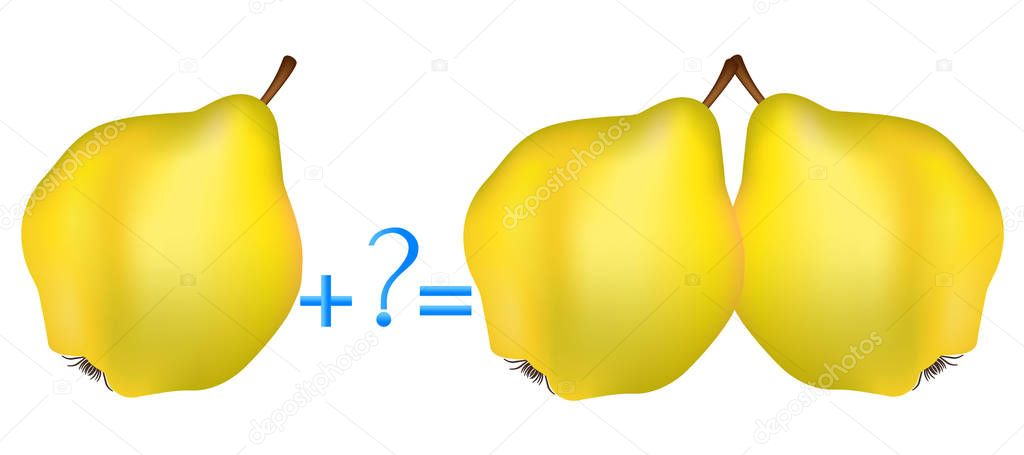 Action relationship of addition, examples with quinces. Educational game for children.
