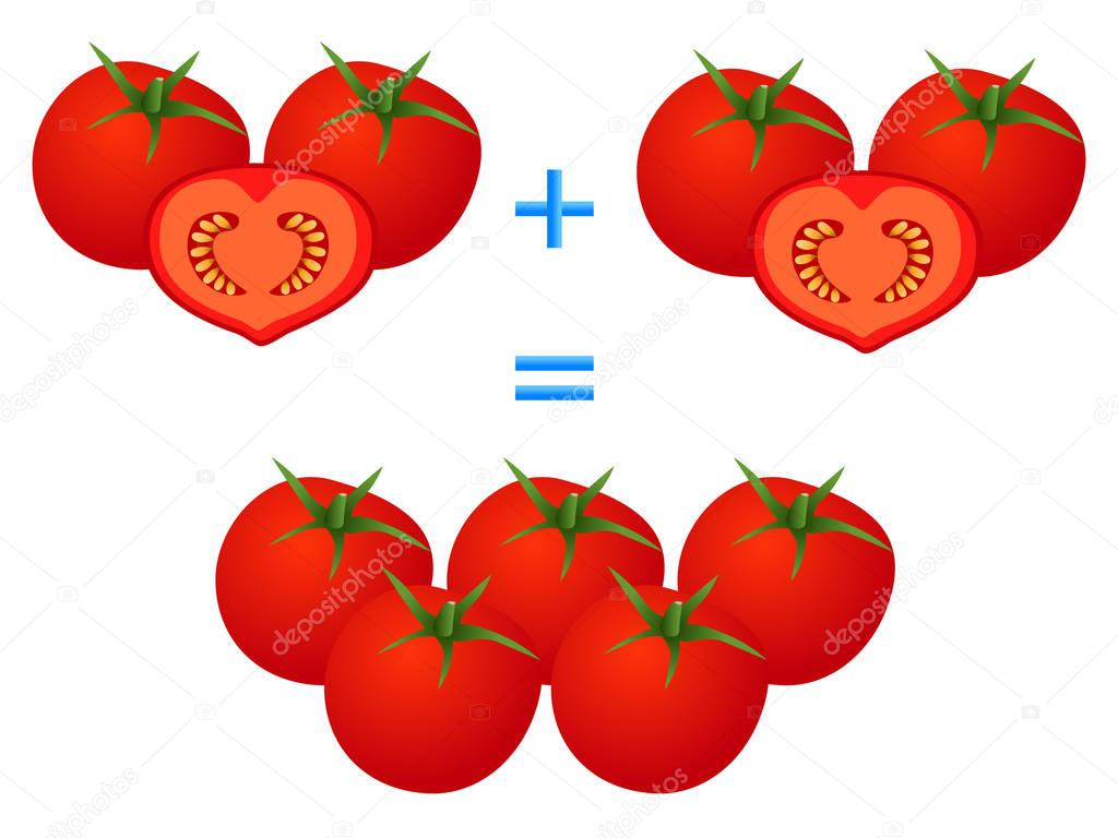 Action relationship of addition, example with tomatoes. Educational games for children.