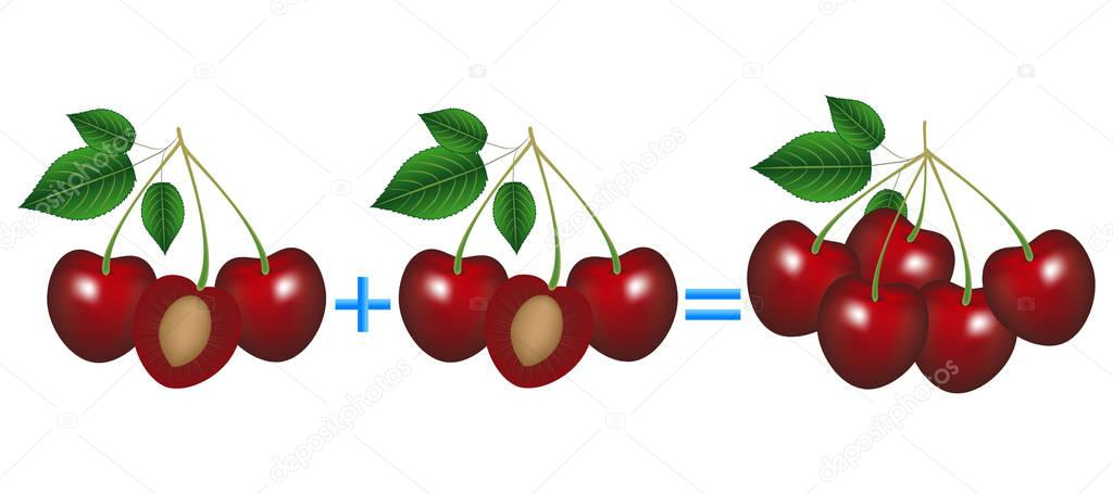 Action relationship of addition, example with cherries. Educational game for children.
