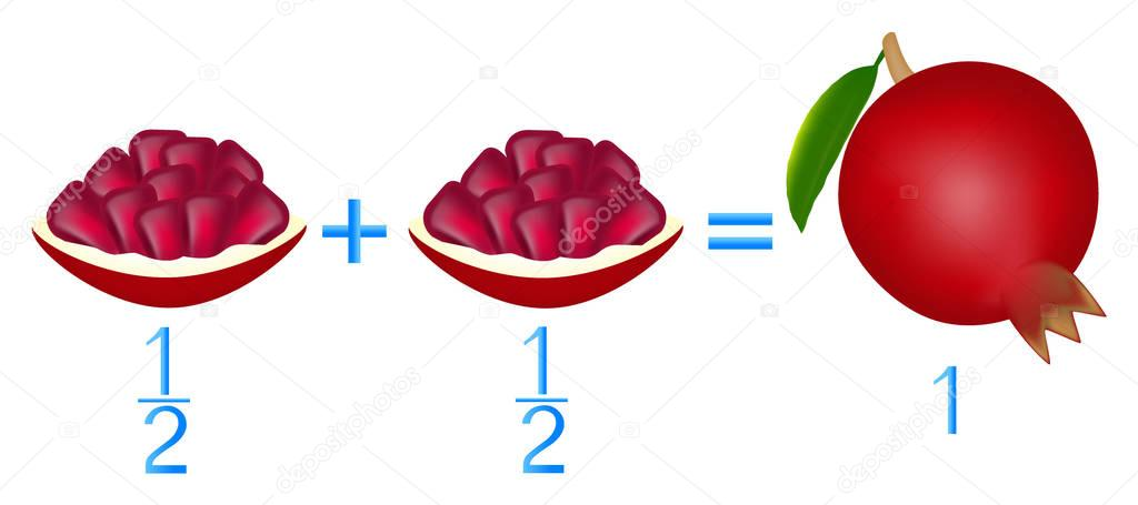 Action relationship of addition halves, examples with garnet. Educational game for children.