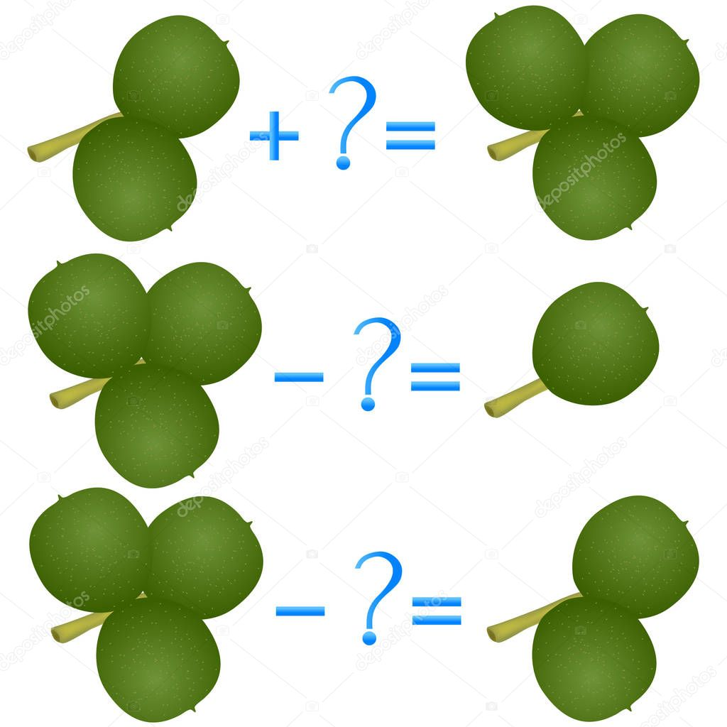 Action relationship of addition and subtraction, examples with green walnuts. Educational games for children.