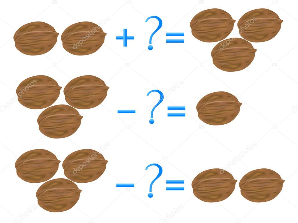 Action relationship of addition and subtraction, examples with walnuts. Educational games for children.
