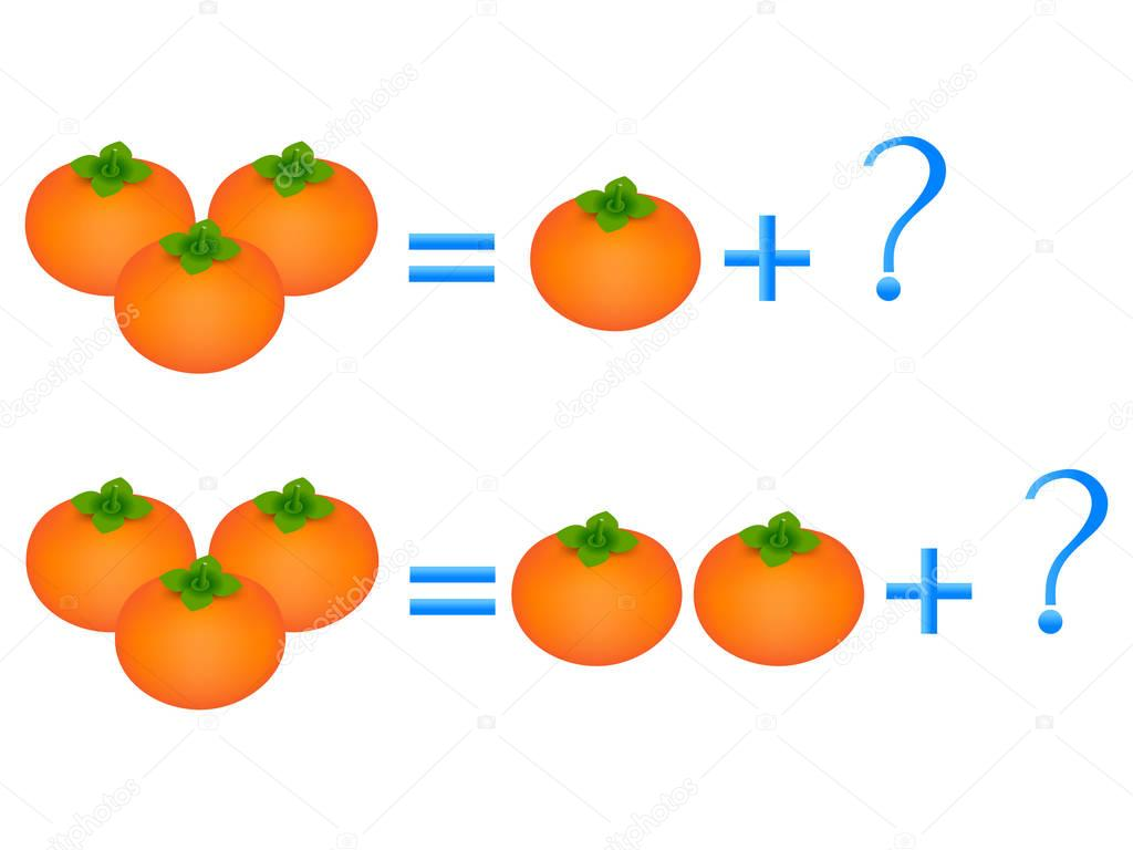 Educational games for children, on the composition of the three, example with persimmons.