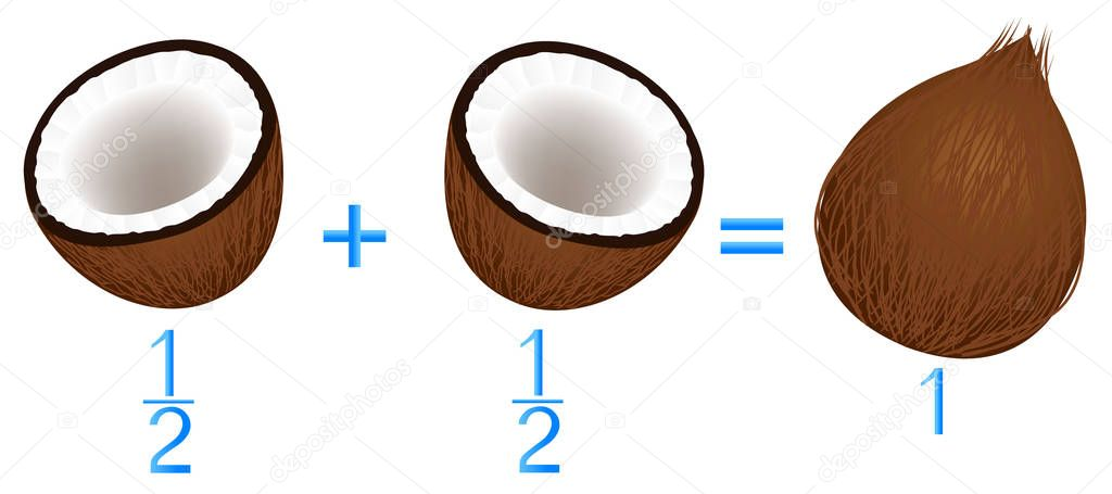 Action relationship of addition and subtraction, examples with coconuts. Educational games for children.