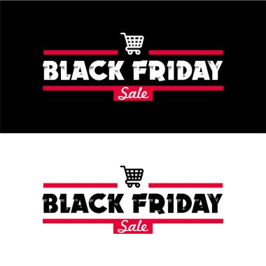 Black Friday sale inscription design template set.