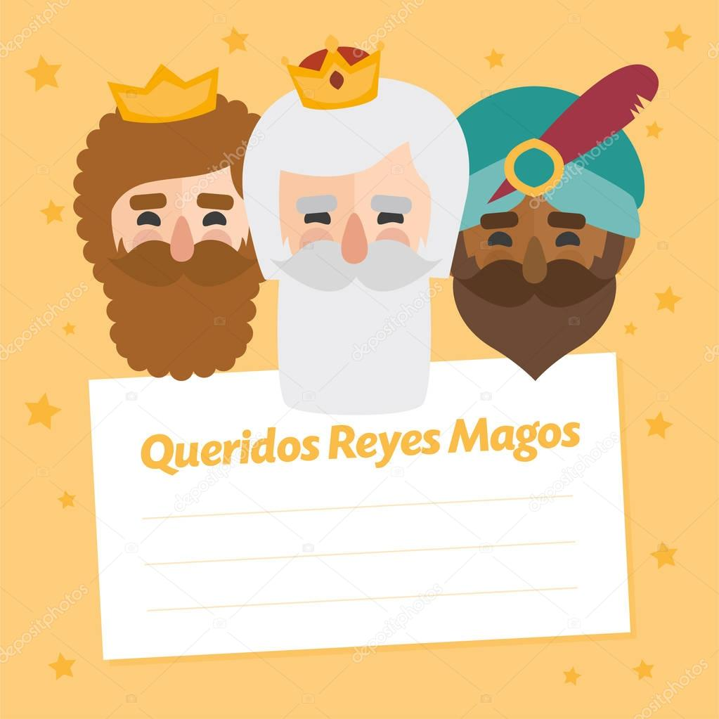 Dear wise men written in Spanish