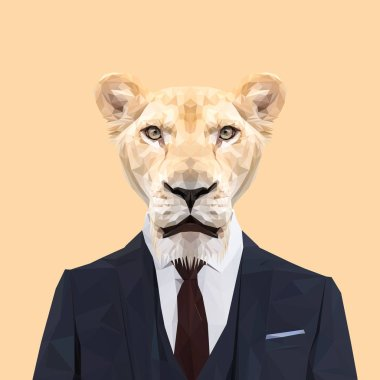 Lioness low poly design in suit