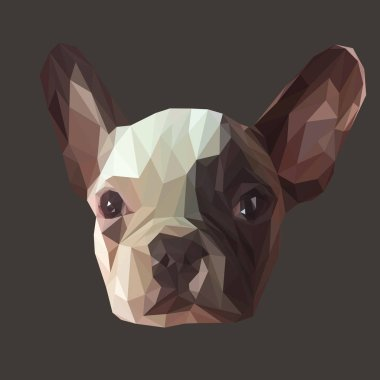 French bulldog low poly design