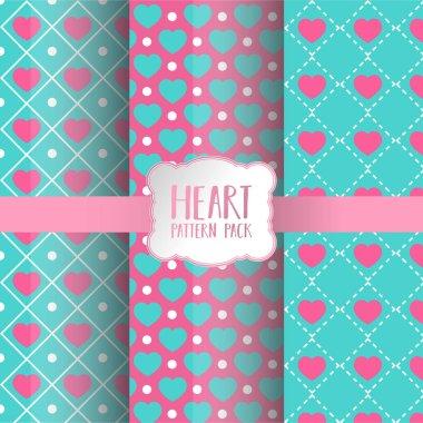 Heart pattern pack, vector illustration stock vector