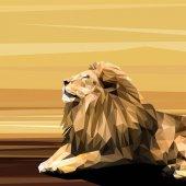Fotografie Lion on sun low poly design.