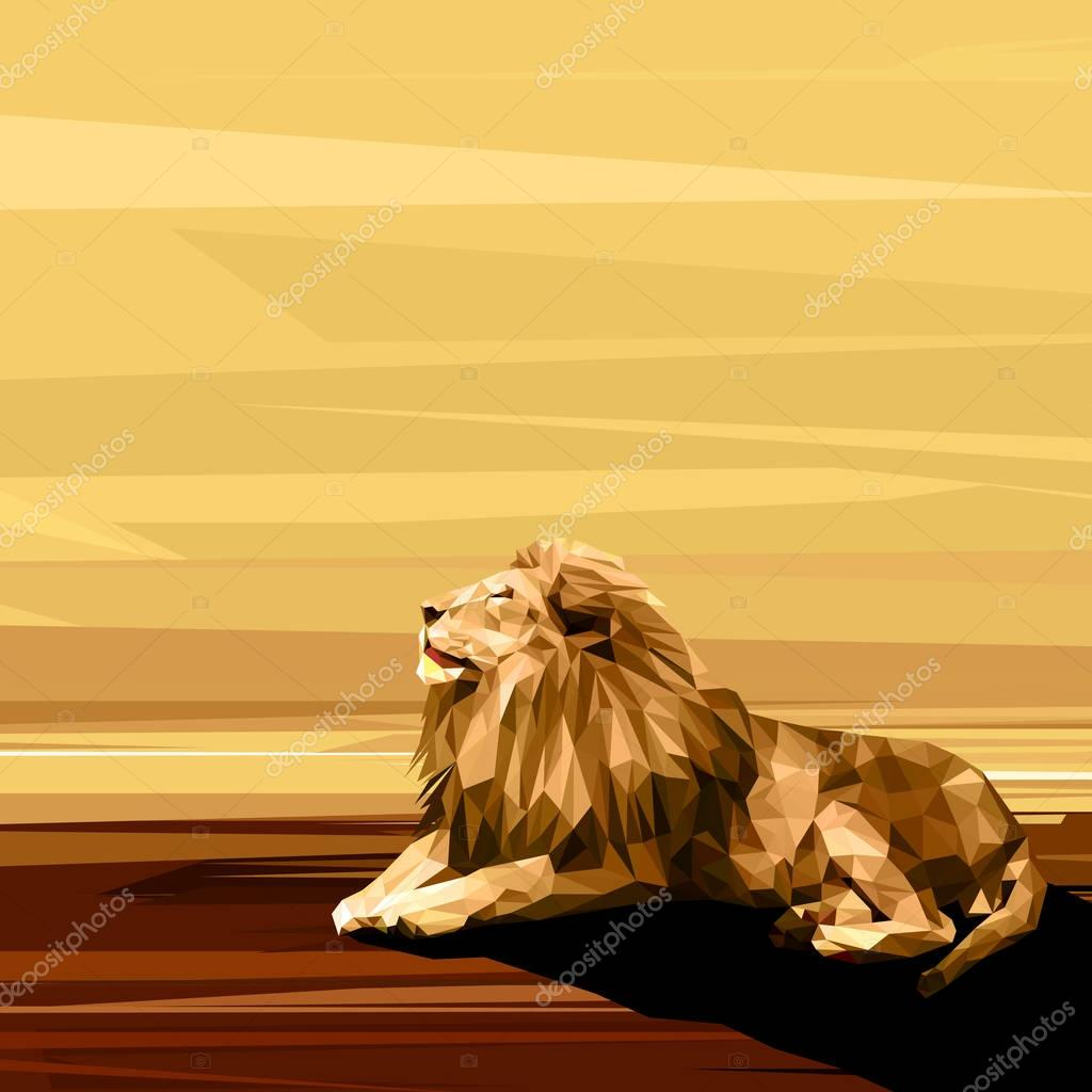 Lion on sun low poly design.