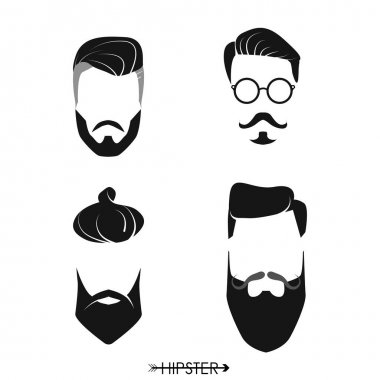 Set of hipster man haircuts