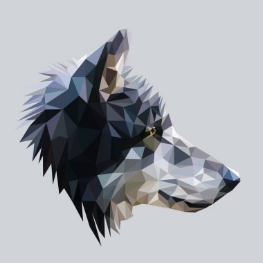 Wolf low poly design.