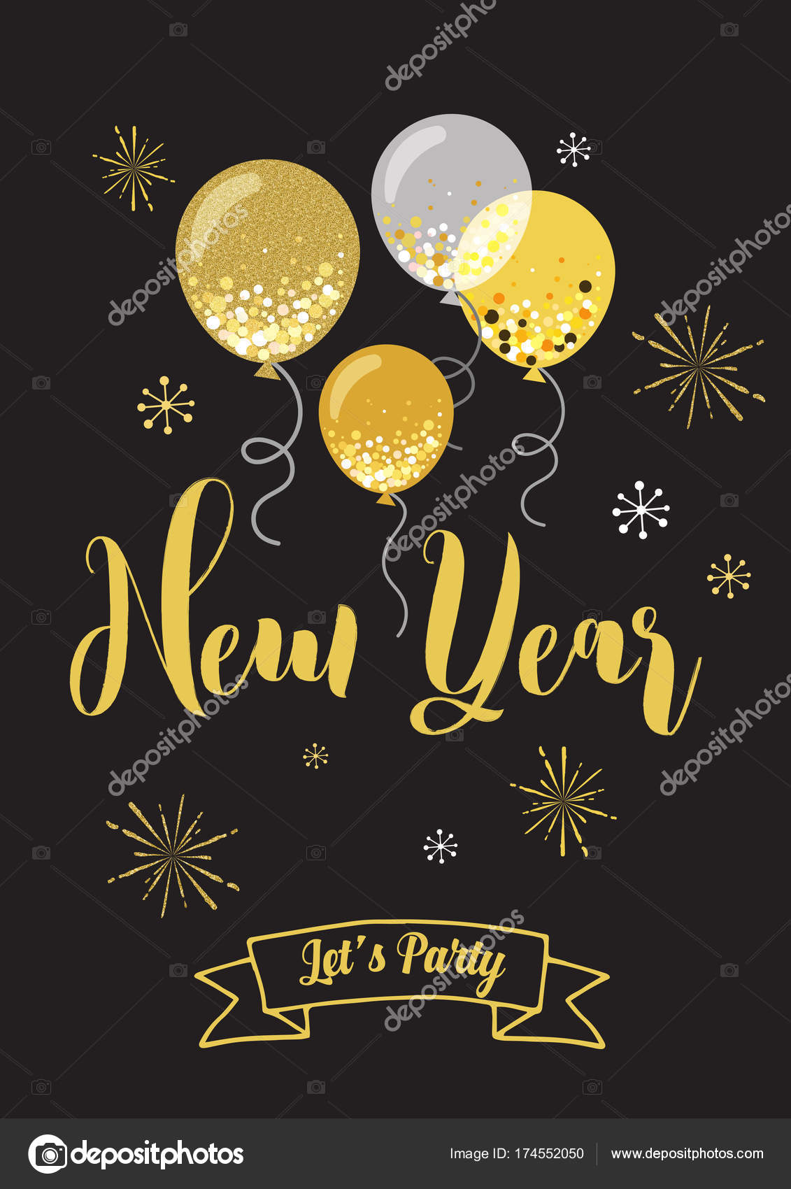New Year party invitation. — Stock Vector © Shekularaz #174552050