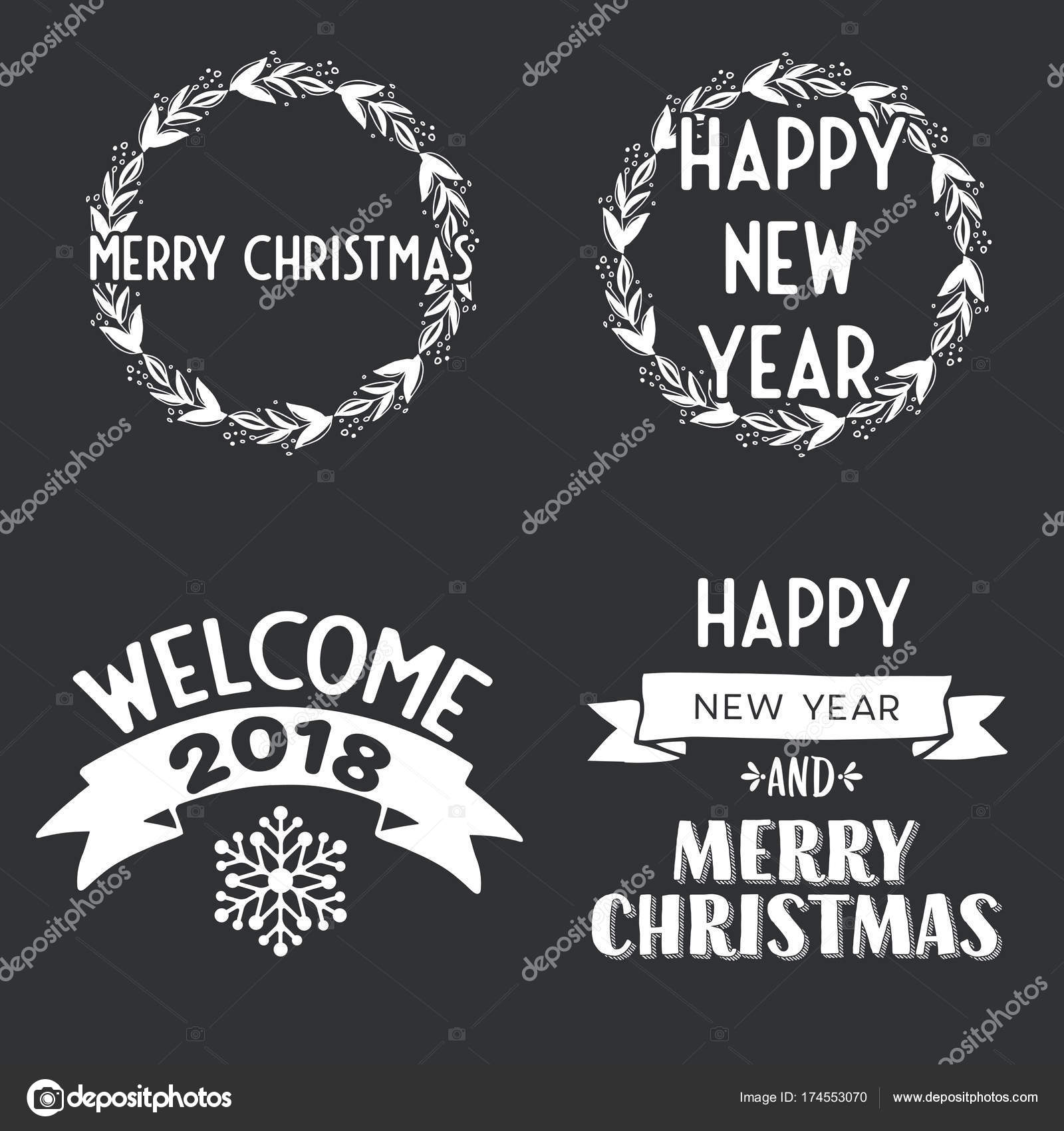 New Year and Merry Christmas signs — Stock Vector © Shekularaz ...