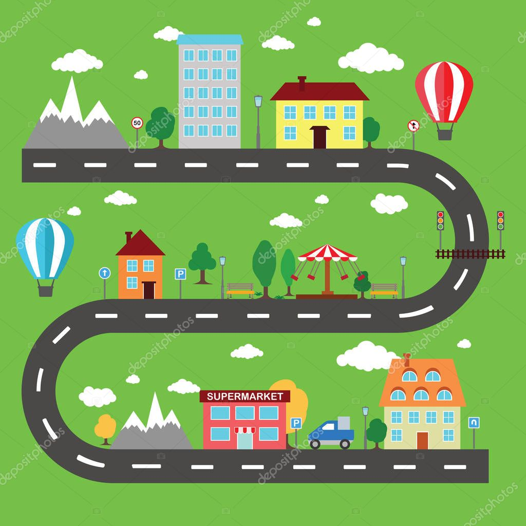 Lovely city landscape car track. Play mat for children activity and entertainment. Sunny city landscape with streets, supermarket, buildings, and plants.