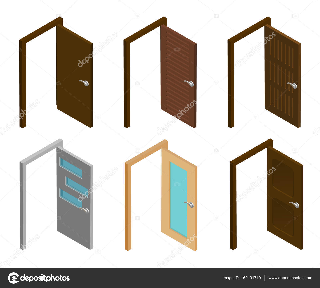 Isometrische Tür. Sammlung von isometrischen offene Türen mit Griff ...