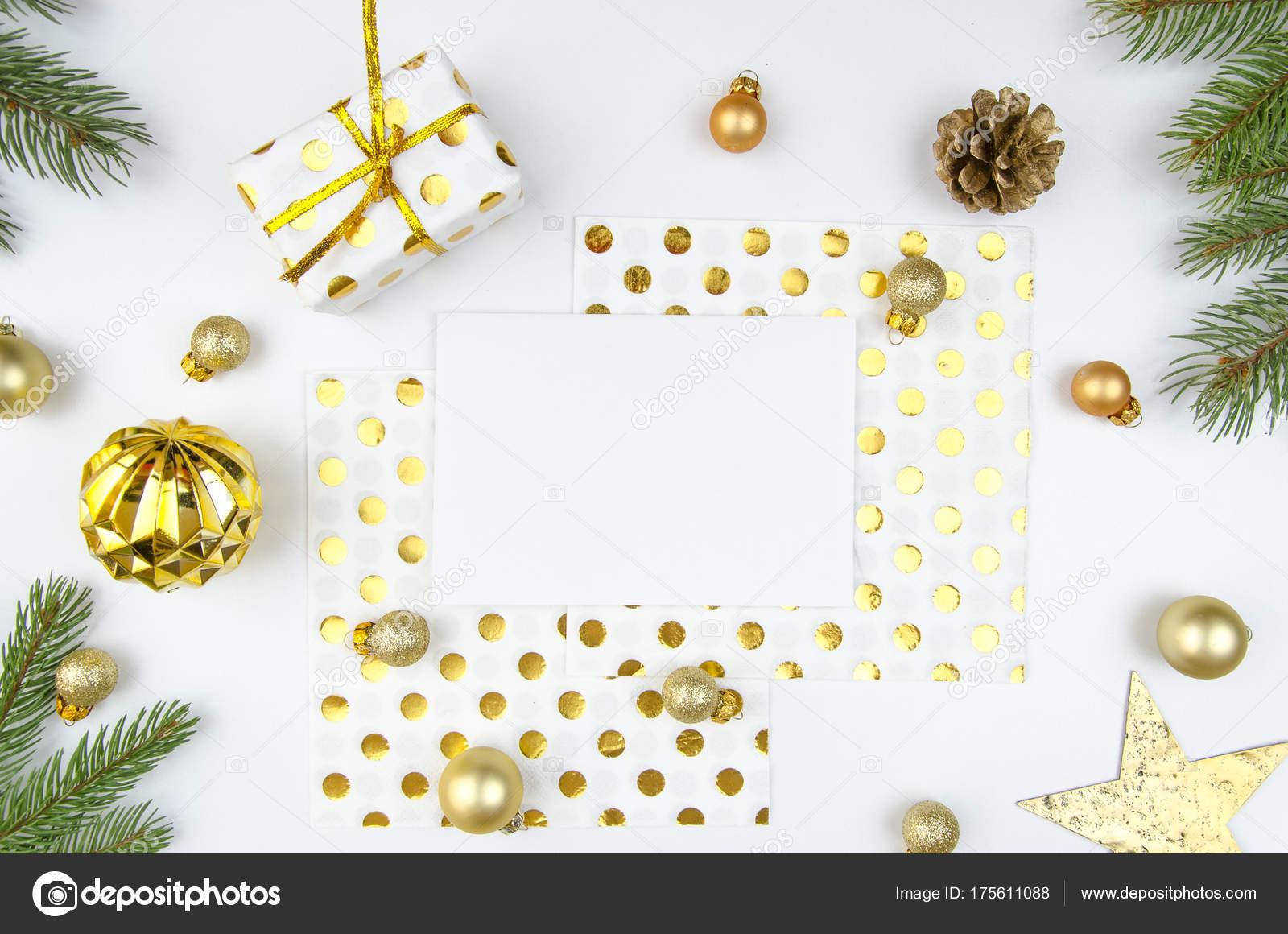 Romantische Weihnachten Komposition. Papier leer, Weihnachtsbaum ...