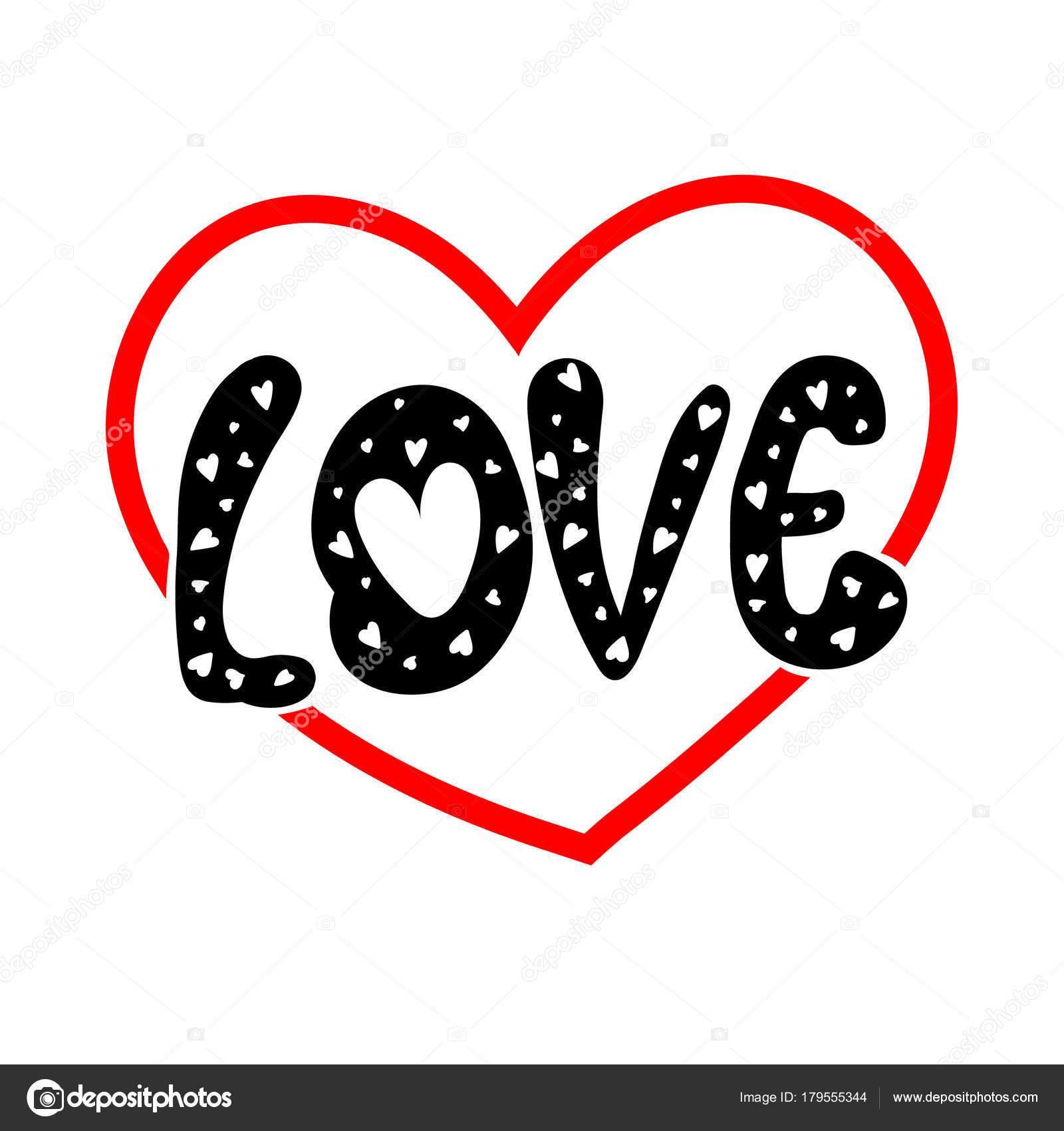 Ilustracion De Forma Del Corazon Del Amor De Palabra Caligrafia Y