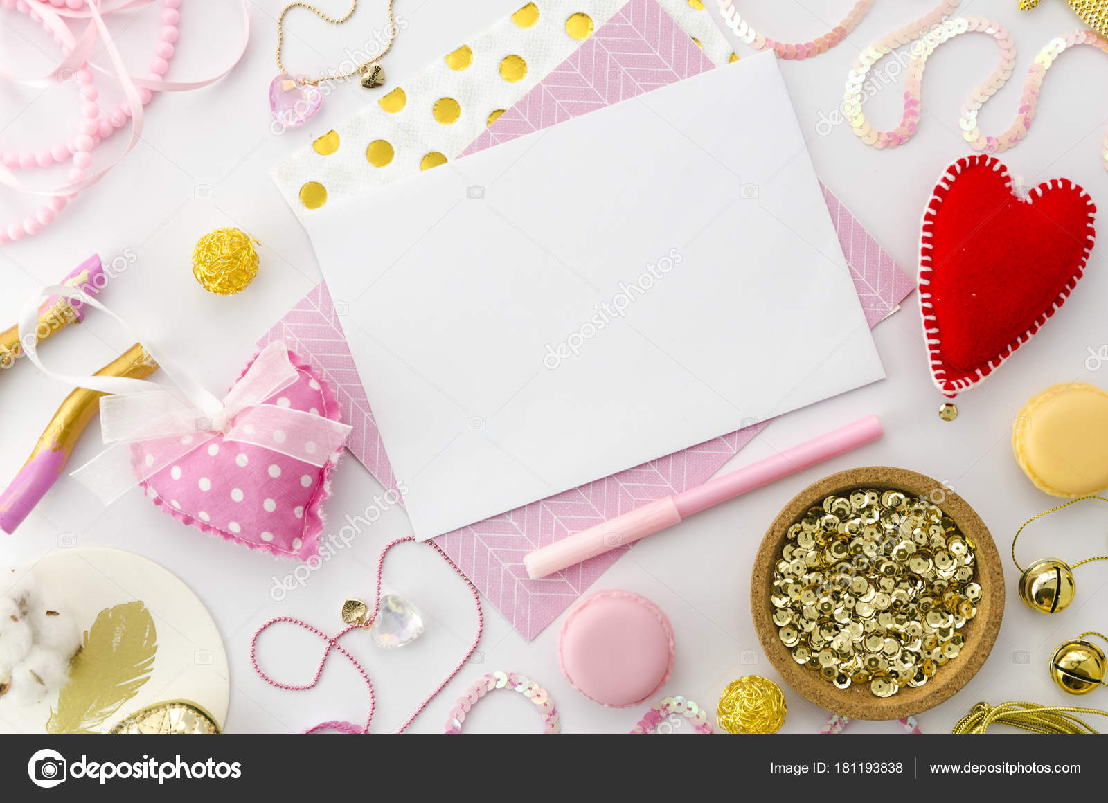 Love Letter Mock Up For Valentines Day On Pink Background Valentine