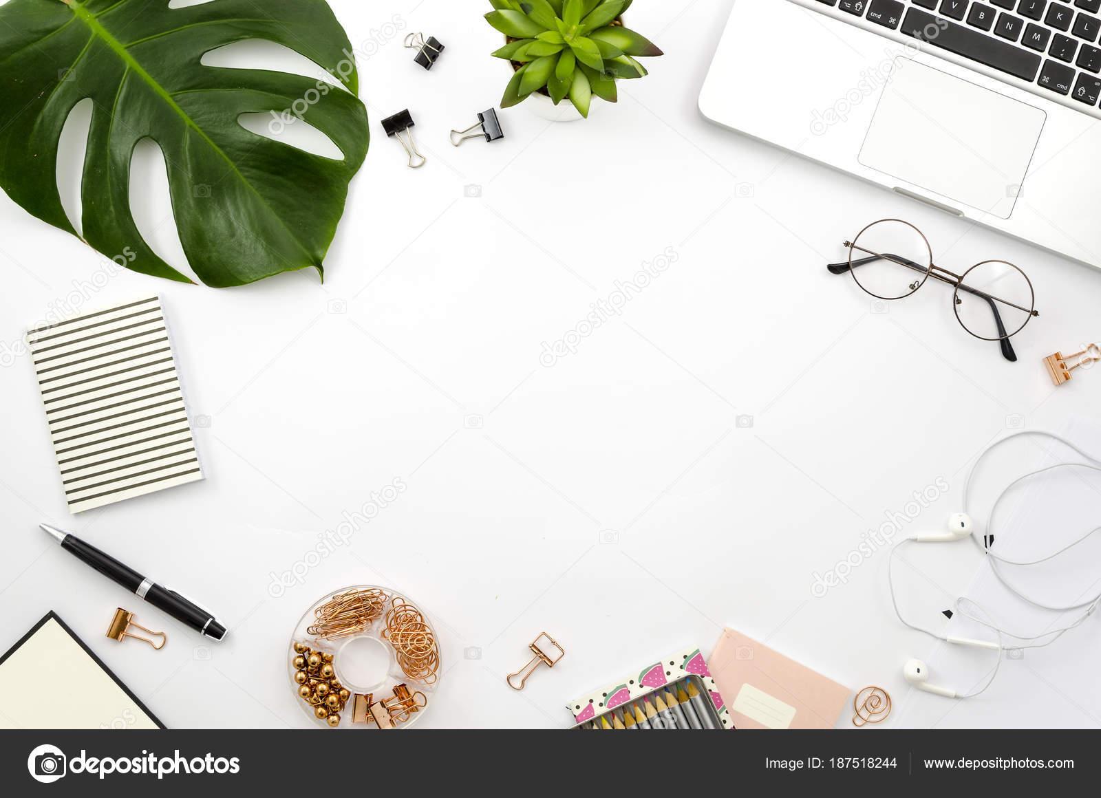 Home-Office Arbeitsbereich flach legen Rahmen mit Laptop, Palmwedel ...