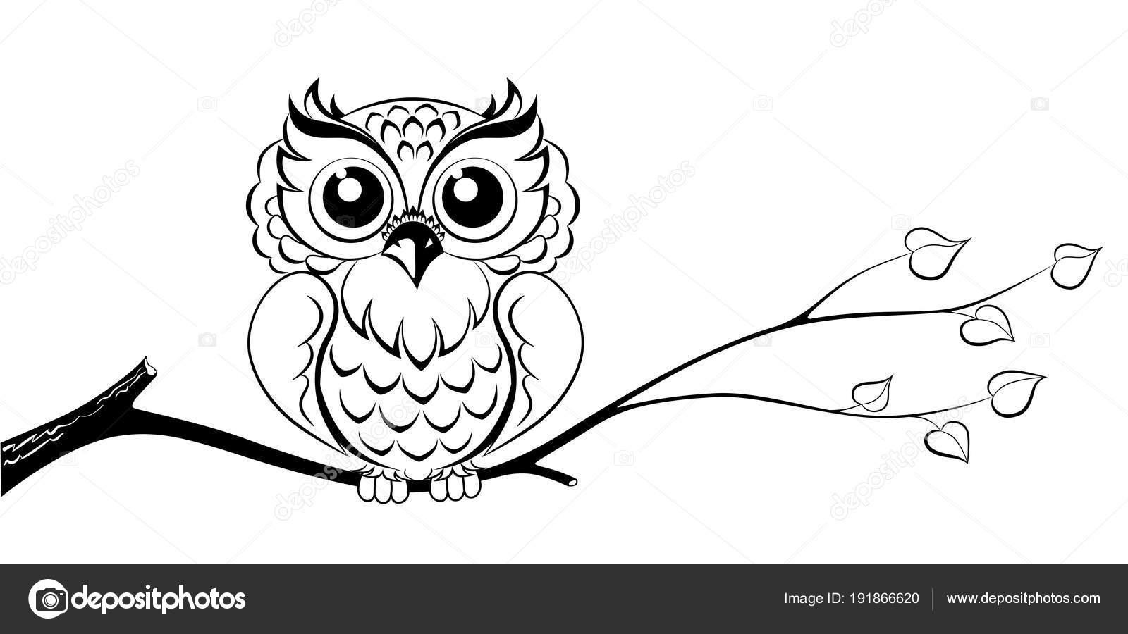 Owl Branch Abstract Vector Clip Art — Stock Vector ...