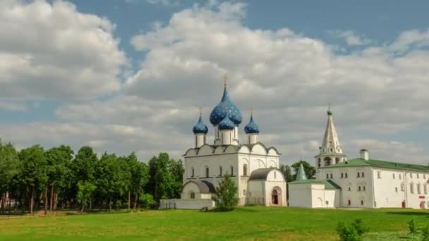 Temples of the city of Suzdal, Russia. Gold ring. Time lapse UHD 4K.