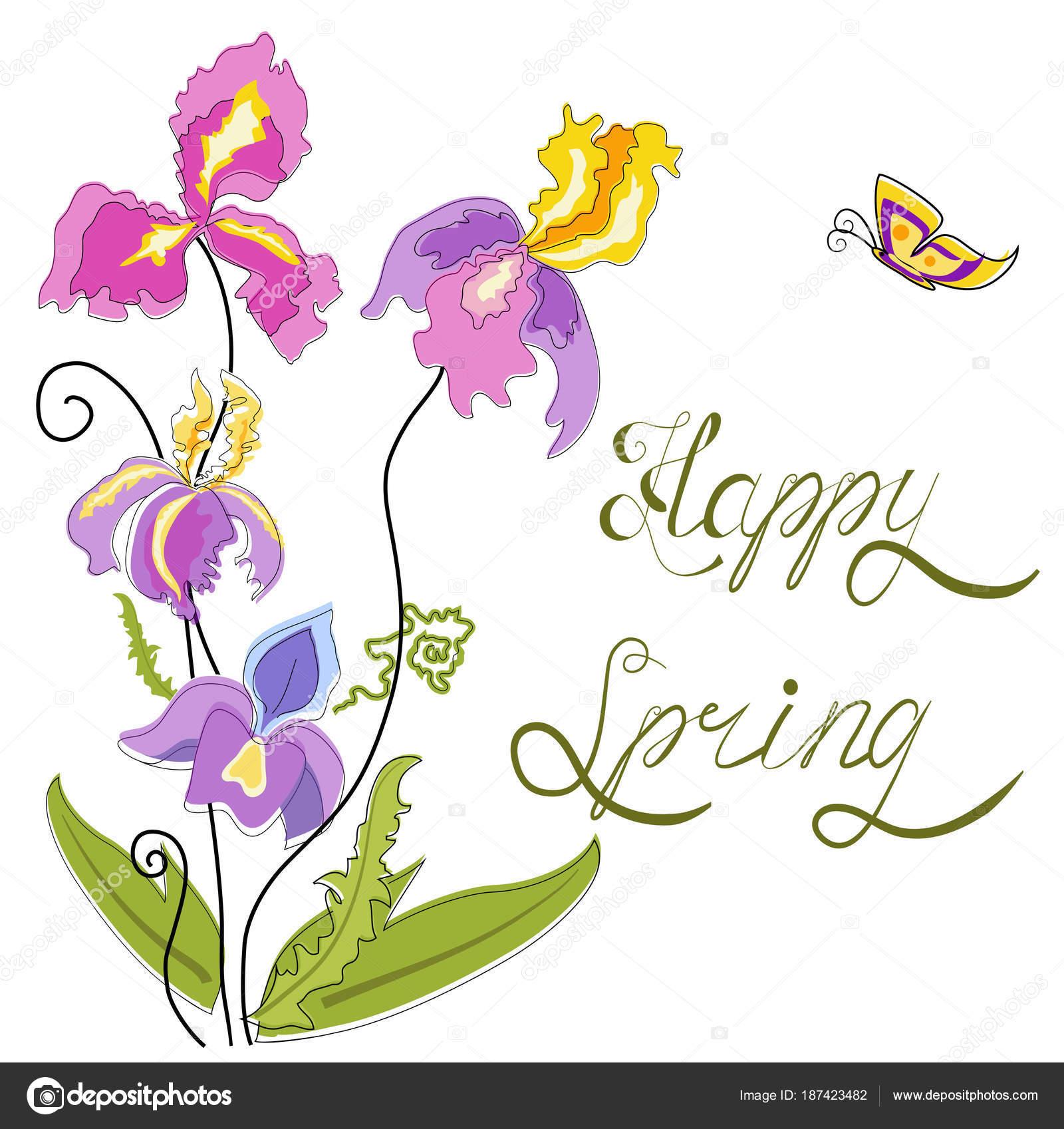 Spring Flowers Irises Cartoon Style Lettering Stock Vector