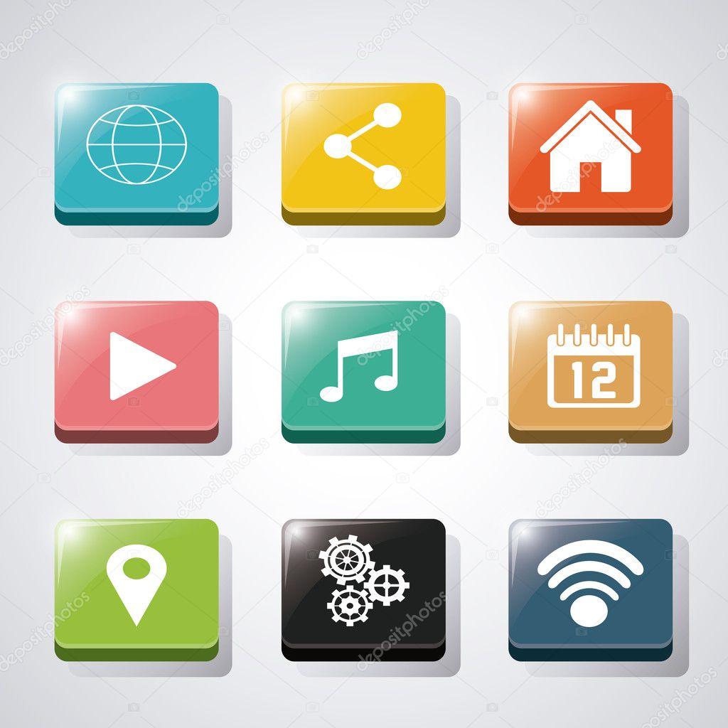 Conjunto de iconos de aplicaciones y marcos de — Archivo Imágenes ...