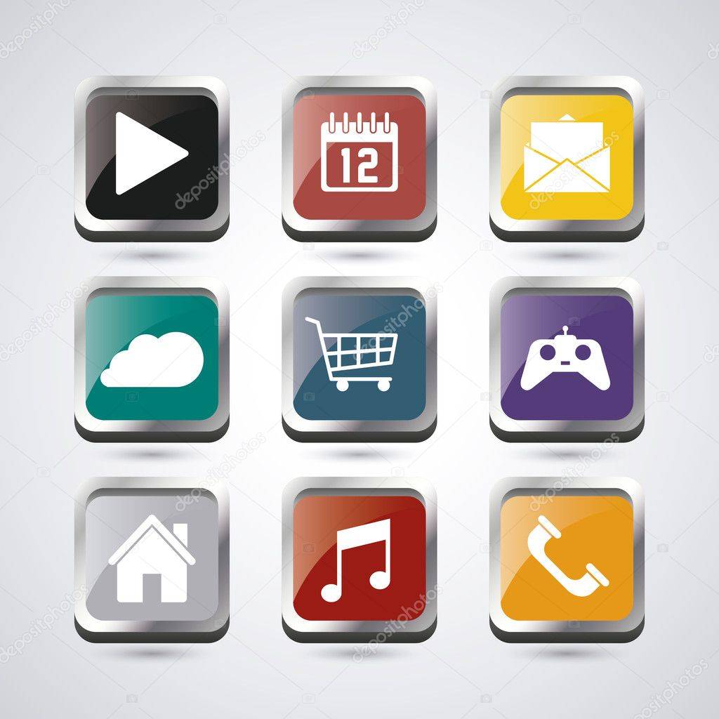 Conjunto de iconos de aplicaciones y marcos de — Vector de stock ...