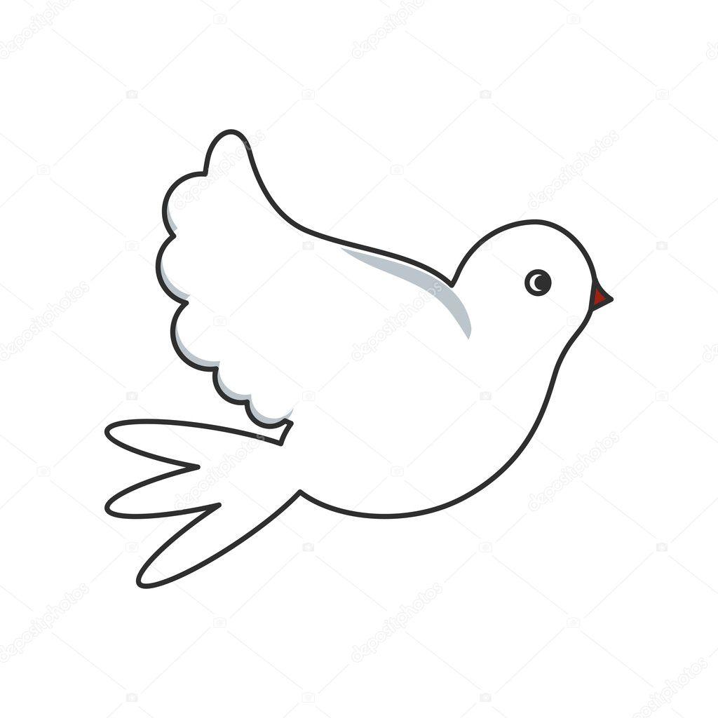 Disegno Dell Uccello Colomba Isolato Vettoriali Stock