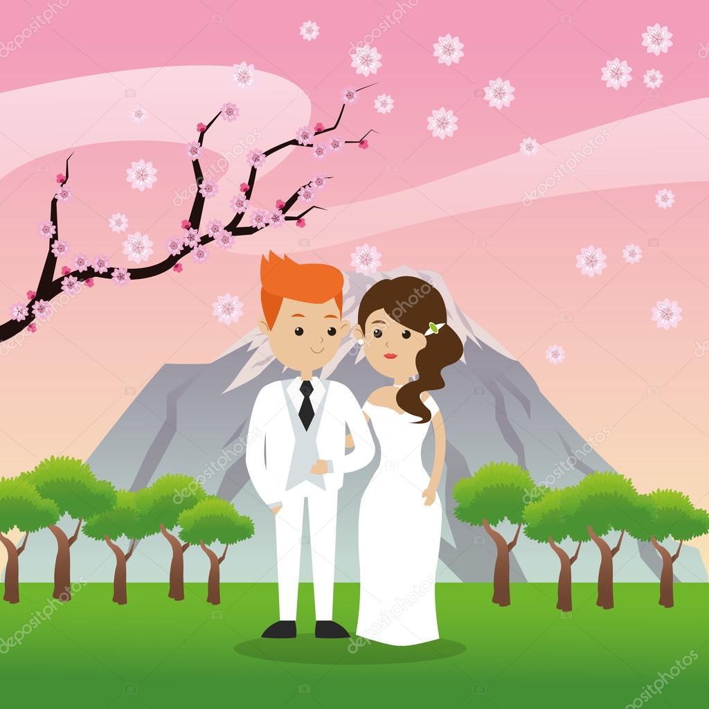 Wedding and marriage couple design — Stock Vector © jemastock #125168886