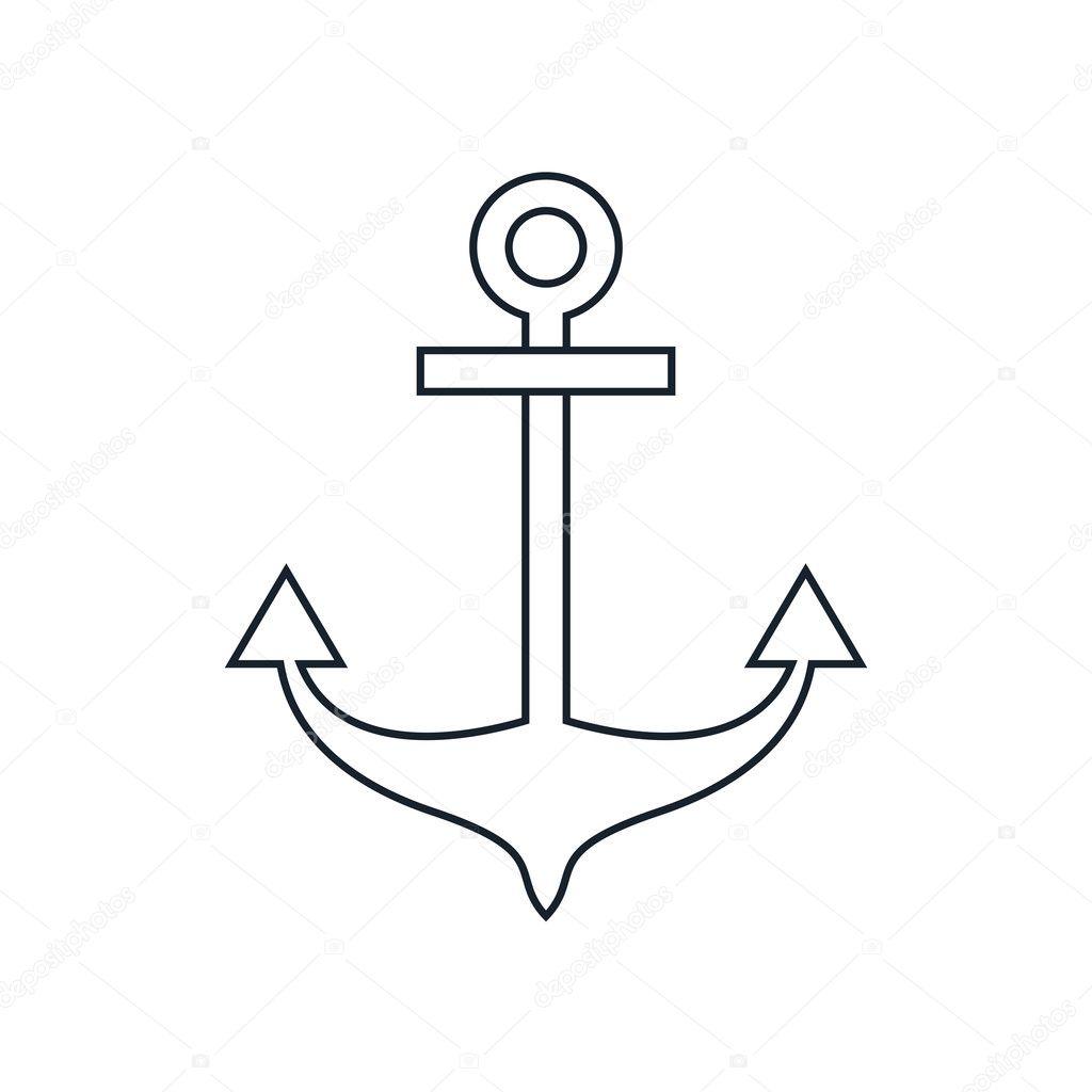 Ancre Marine Dessin isolé de conception de l'ancre marine — image vectorielle jemastock